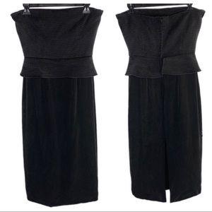 Richard Tyler Black Strapless Corset Midi Dress